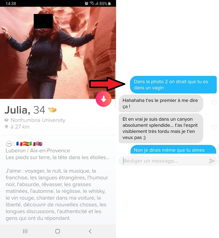 phrase d accroche tinder humour